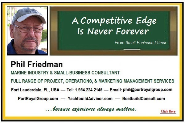 A Competitive Edge Is Never ForeverA Competitive Edge Is Never Forever  Phil Friedman  MARINE INDUSTRY & SMALL BUSINESS CONSULTANT  FULL RANGE OF PROJECT, OPERATIONS, 8 MARKETING MANAGEMENT SERVICES  Fort Lauderdale, FL, USA — Tel 1 984 224 214% — Email phik@portroyaigroup com PortRoyalGroup com — YachtbuildAdvisor com — BoatbuildConsult com.  because expericmee always mations. hb