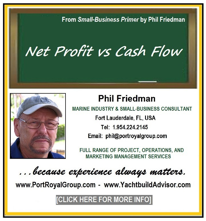 Net Profit vs Cash FlowFrom Small-Business Primer by Phil Friedman  Net Profit vs Cash Flow  Phil Friedman MARINE INDUSTRY & SMALL-BUSINESS CONSULTANT Fort Lauderdale, FL, USA Tel: 1.954.224.2145 Email: phil@portroyalgroup.com  FULL RANGE OF PROJECT, OPERATIONS, AND MARKETING MANAGEMENT SERVICES  www.PortRoyalGroup.com - www.YachtbuildAdvisor.com  CLICK HERE FOR MORE INFO]