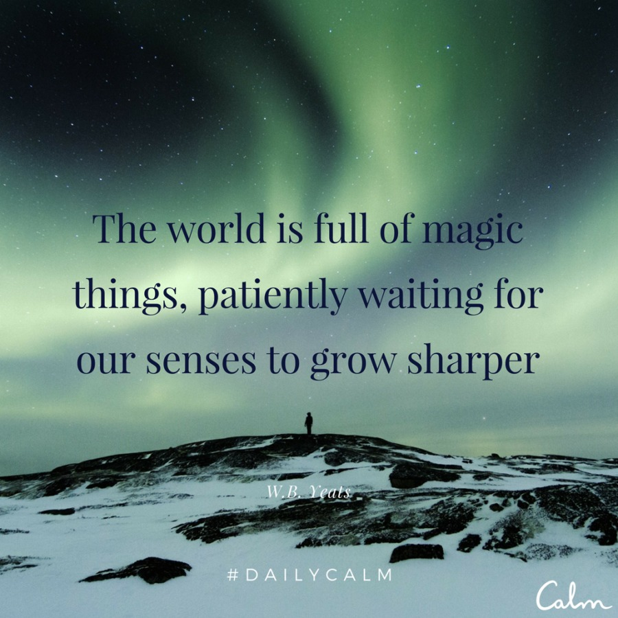 The world is full of things, patiently waiting for  our senses to grow sharper