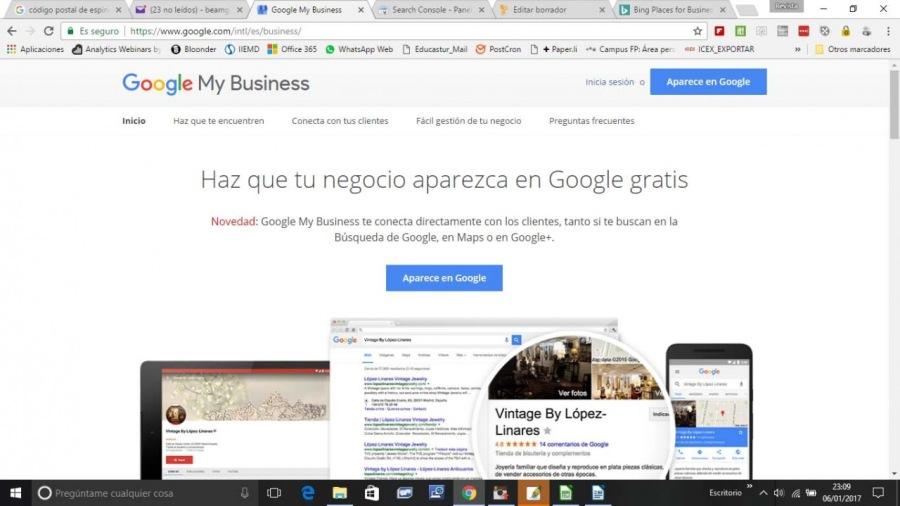 Ce EE «0 tg em - cn a  a SR YN PY LT pe on fr     Google My Business             Vintage By Lopez. Unares