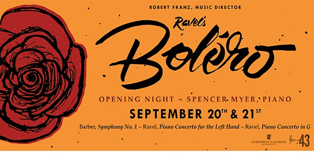"A Boléro SunsetOPENING NIGHT SPENCER MYER PIANO  SEPTEMBER 20"" & 21""  Barter, Symphony Nt   - Rave. Pras Concerts foe the (ef Homd - Karel. Prass Concerto im G.  2 43"
