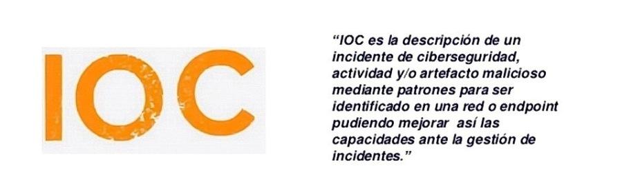 """""""IOC es la descripcion de un incidente de ciberseguridad, actividad y/o artefacto malicioso mediante patrones para ser identiticado en una red o endpoint pudiendo mejorar asi las capacidades ante la gestion de incidentes."""""""