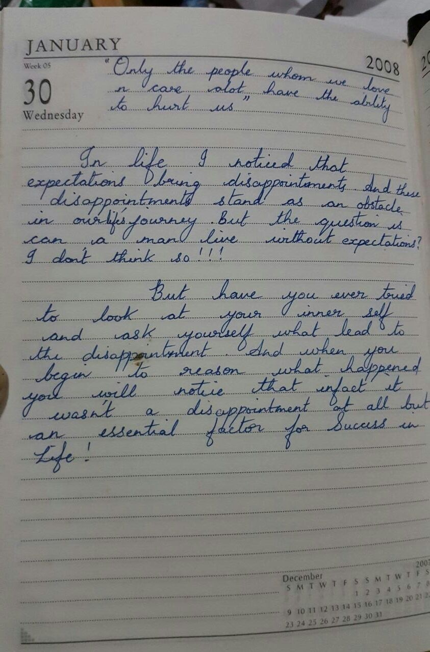 My Diary - A Note to myself dated 30th January 2008