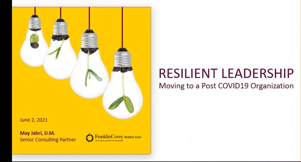 NT RESILIENT LEADERSHIP  Moving to a Post COVID19 Organization  June 2, 2021  May Jabri, D.M. i Senior Consulting Partner (0) FEnKInCONey mes cas