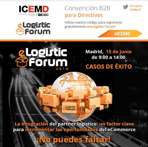 ICEMD  Logistic Forum  Logistic Madrid, 15 de junio  de 9:00 a 14:00  TT) (FA 00         CN  SR, or La integracién del partner logistico: un factor clave para ihcrémentar las oportunidatics del eCommerce  CRD C5 ml TO To ALE