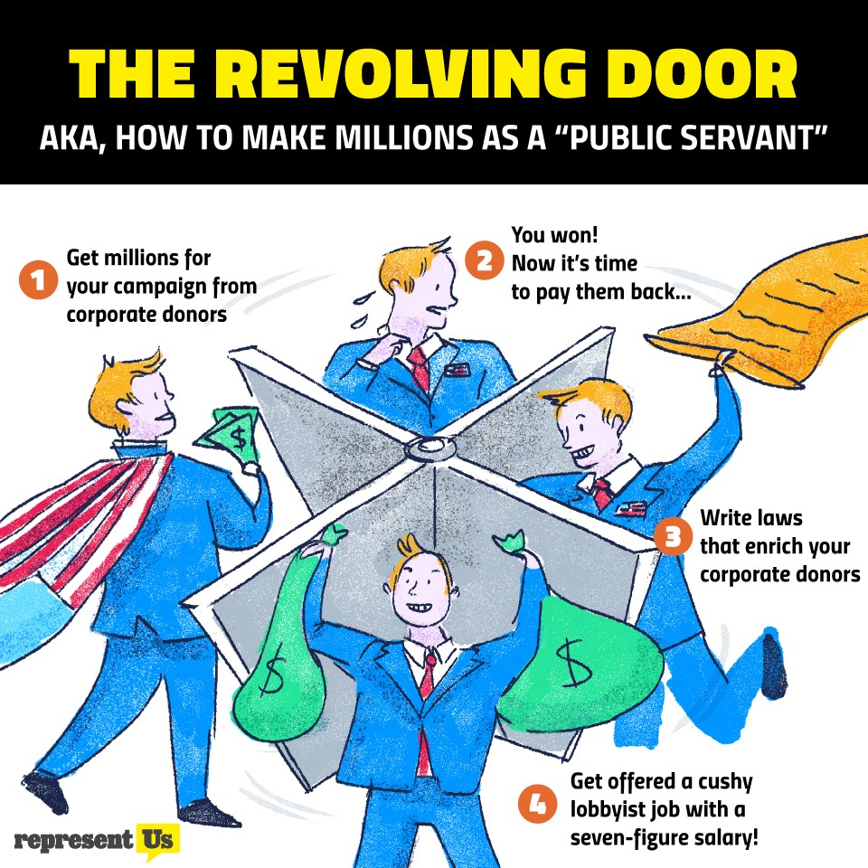 """THE REVOLVING DOOR  AKA, HOW TO MAKE MILLIONS AS A """"PUBLIC SERVANT""""  ' You won! Get millions for 3 0 Now it's time Oo your campaign from Jo ' to pay them back... Las corporate donors A ge : y 7 2                4 Write laws - k that enrich your """"\ corporate donors       Get offered a cushy 0 lobbyist job with a seven-figure salary!"""
