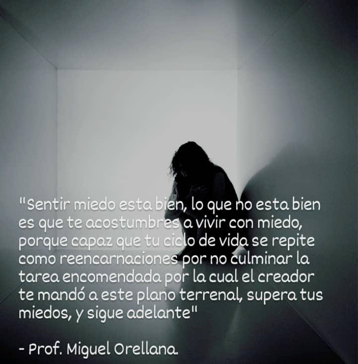 en, lo que ho esta bien ga 0. vivir con miedo, o de vida se repite € por no Eulminar la la cual el creador 0 terrenal, supera tus miedos, y sig Igld     - prof. Miguel Orellana.