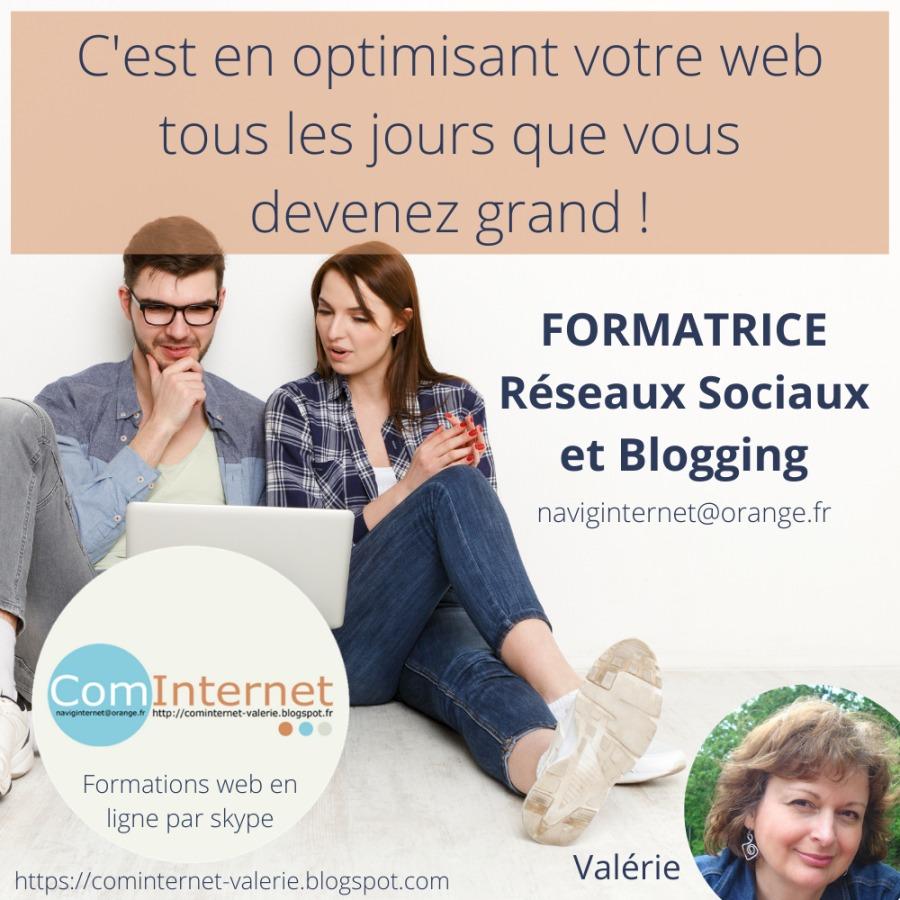 Formation Réseaux Sociaux en ligne Télétravail VANNES formatrice formateur web Blogging MORBIHAN BRETAGNEC'est en optimisant votre web tous les jours que vous devenez grand !             FORMATRICE à Réseaux Sociaux à et Blogging  naviginternet@orange.fr