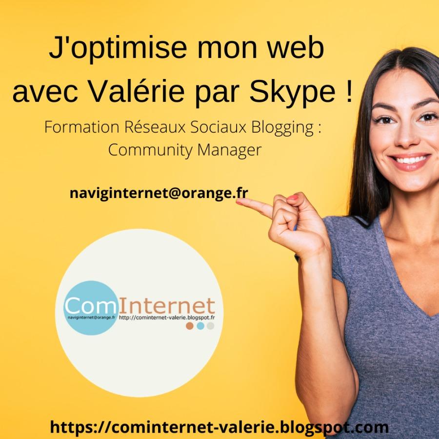 J'optimise mon web avec Valérie par Skype !  Formation Réseaux Sociaux Blogging : Community Manager                naviginternet@orange.fr &  https://cominternet-valerie.blo