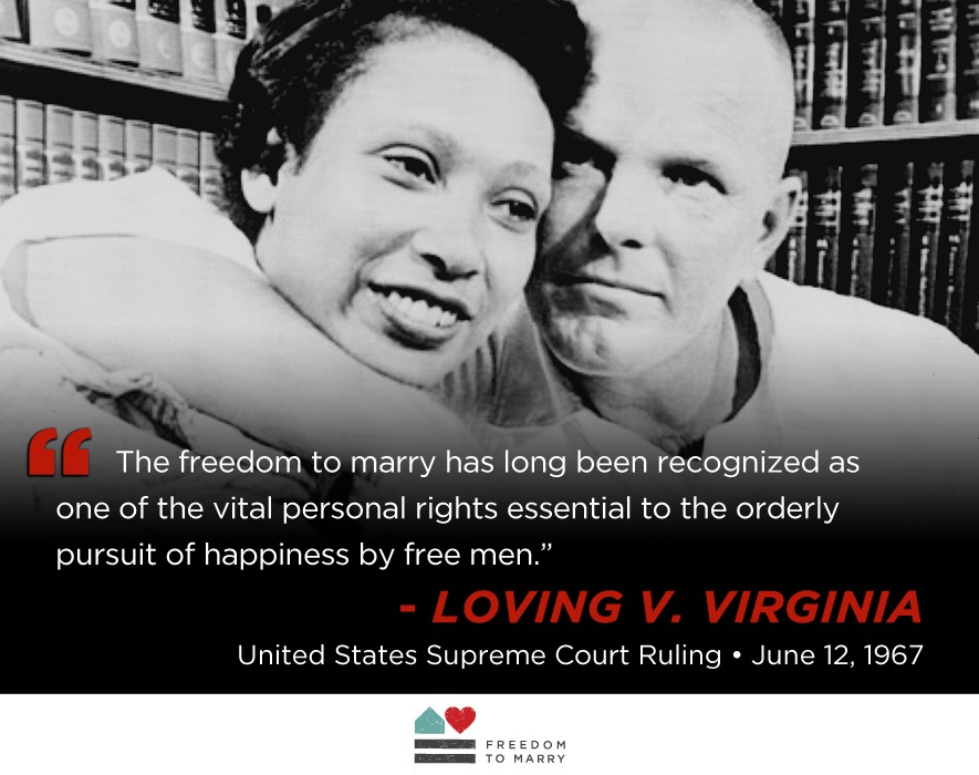 """PEOPLE ALWAYS FIGURE OUT RACISIM LATE: Loving V. Virginia case LABThe freedom to marry has long been recognized as  one of the vital personal rights essential to the orderly pursuit of happiness by free men.""""  United States Supreme Court Ruling * June 12,1967"""