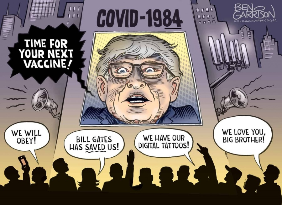 COVID-1984LLL YOUR NEXT VACCINE/  wo =i    - WE LOVE YOU, ~ WE HAVE OUR BIG BROTHER! DIGITAL TATTOOS!  \