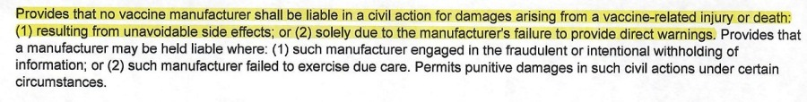 Provides that no vaccine manufacturer shall be able in a cil action for Gamages arising from a vaccine-related injury of death (1) resulting from unavoicabie side effects. or (2) solely due to the manufacturer's aire 10 PrOVIce direct wamings. Provides that 8 manufacturer may be heid kable where (1) such manufacturer engaged in the fraudulent of intentional withholding of infomation. of (2) such manufacturer failed to exercse due care Permits punitive damages i such civil actons under certan crcumstances.