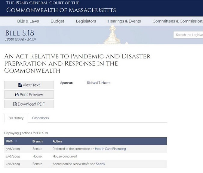 144  145  146  147  148  149  150  151  (c) All state and local agencies of the Commonwealth engaged in responding to a public health emergency declared pursuant to section 2A or a state of emergency declared under chapter 639 of the acts of 1950 are authorized to share and disclose information to the extent  necessary for the treatment, control, and investigation of the emergency.  (f) To the extent practicable consistent with the protection of public health, prior to the destruction of any property dunng the emergency, the department of public health or a local public health authority shall institute appropriate civil proceedings against the property to be destroyed in accordance with the existing laws and rules of the courts of this Commonwealth or any such rules that may be developed by the courts for use during the emergency. Any property acquired by the department of public health or a local public health authonty through such  proceedings shall, after entry of the decree, be disposed of by destruction as the court may direct