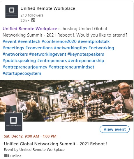 2 Unified Remote Workplace  -®  Unified Remote Workplace is hosting       Aference2020 eventp  aventions ne          vent Seventtech #.  me          ings     1ps #networking  Enetworkers Sne     vorkingevent #keynotespeakers  publicspe. sentrepencurs Sentrepes     curship       sentrepreneurjour        #startupecosyste        Unified Global Networking Summit 2021 Reboot