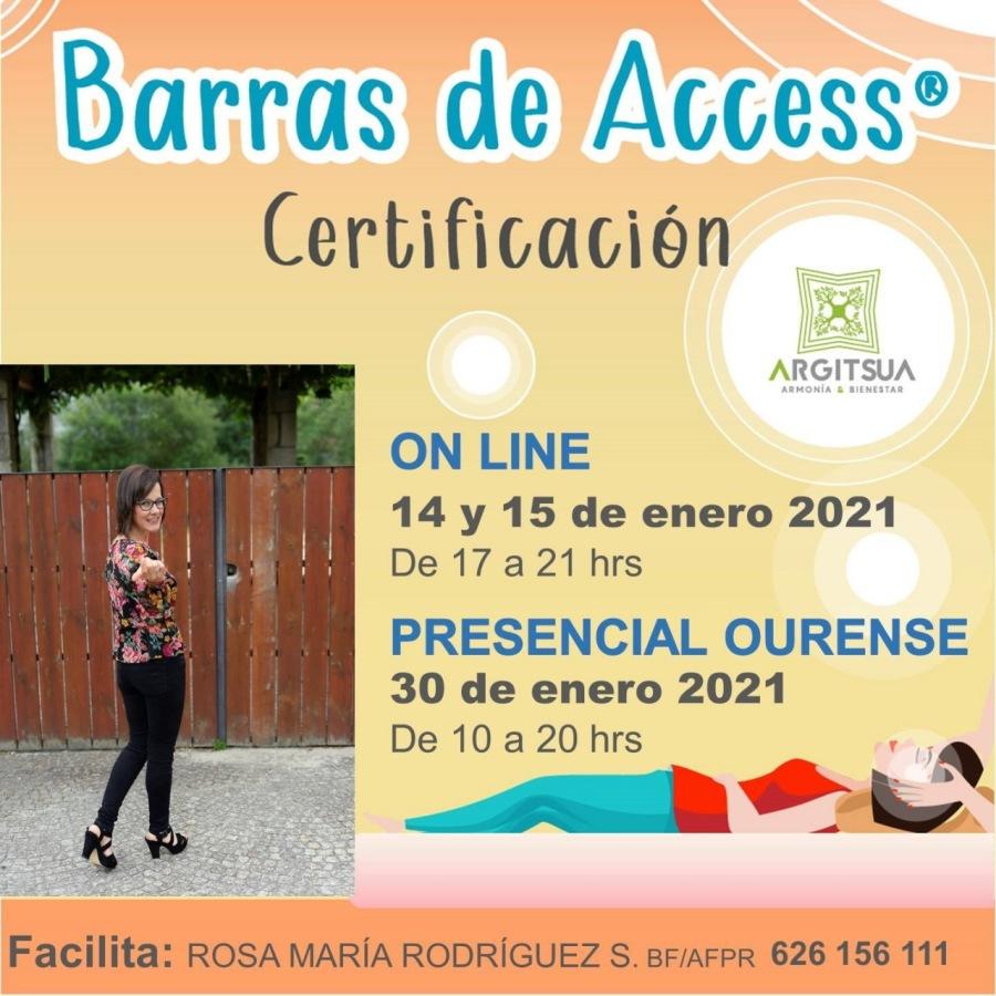 Barras de Access® Certificacion  ON LINE  14 y 15 de enero 2021 De 17 a 21 hrs  PRESENCIAL OURENSE 30 de enero 2021  i De 10a 20 hrs v Ny a!     Facilita: ROSA MARIA RODRIGUEZ S. Br/aFPr 626 156 111