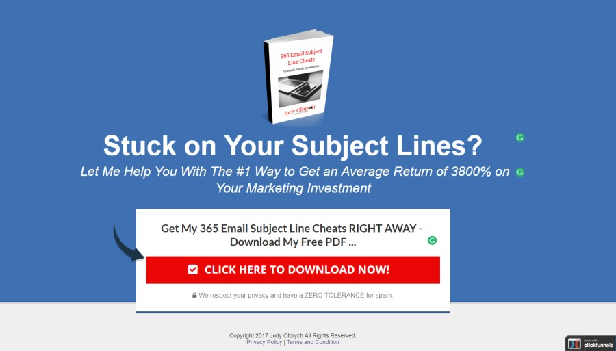 Stuck on Your Subject Lines?  Let Me Help You With The #1 Way to Get an Average Return of 3800% on « Your Marketing Investment               Get My 365 Email Subject Line Cheats RIGHT AWAY Download My Free PDF  LICK HERE TO DOWNLOAD NOW!