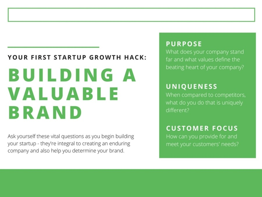 PURPOSE  YOUR FIRST STARTUP GROWTH HACK:  BUILDING A VALUABLE pt BRAND  Ask yourself these vital questions as you begin building your startup - they're integral to creating an enduring company and also help you determine your brand  CUSTOMER FOCUS