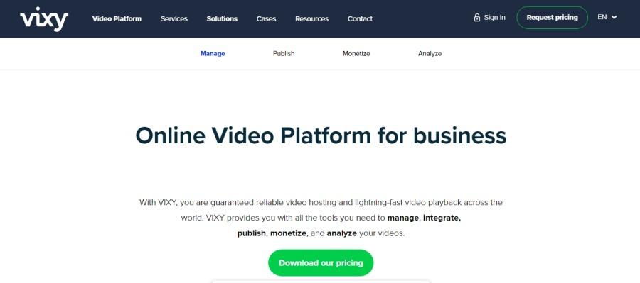 Online Video Platform for business  mange integrate  pubiben monetize «1 analyte ns