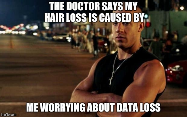"""THE DOCTOR SAYS MY, ' HAIR LOSS IS CAUSED BY"""". ~<a gir: Fy x nd hk B41 Is JS  A ME WORRYING ABOUT, DATA LOSS  A"""