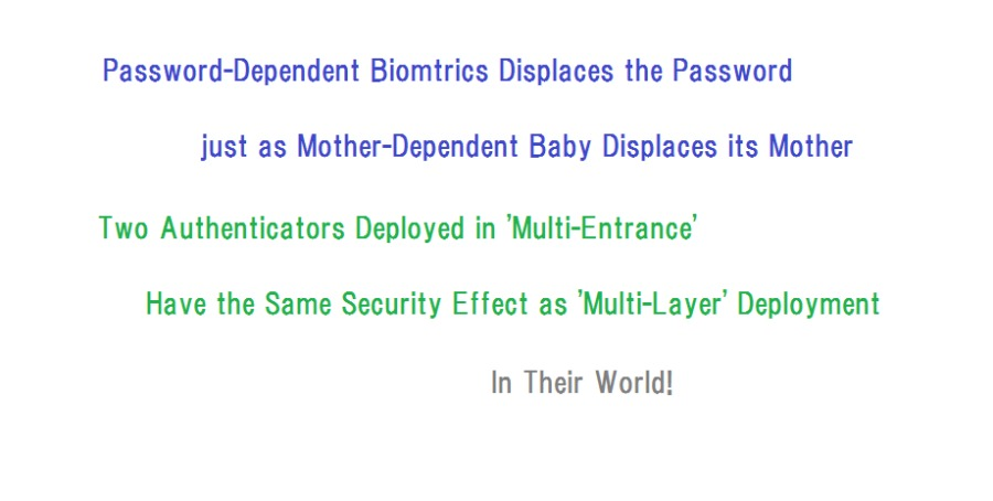 """Biometrics and MePassword-Dependent Biomtrics Displaces the Password<br /> just as Mother-Dependent Baby Displaces its Mother<br /> Two Authenticators Deployed in """"Multi-Entrance'<br /> Have the Same Security Effect as 'Multi-Layer' Deployment<br /> <br /> In Their World!"""