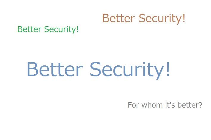 Problem SolvingBetter Security!<br /> <br /> Better Security!<br /> <br /> Better Security!<br /> <br /> For whom it's better?
