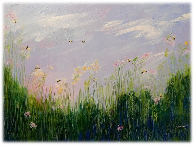 """""""The Pearl-holder"""" and the field of bees""""Everything in life is about the art of lingering and listening."""" - Ann Voskamp"""