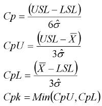 USL 151) p= i oa cpl (t SL x) 36 - (x Ls) a  Cpk Min(Cpt7. Cpl)