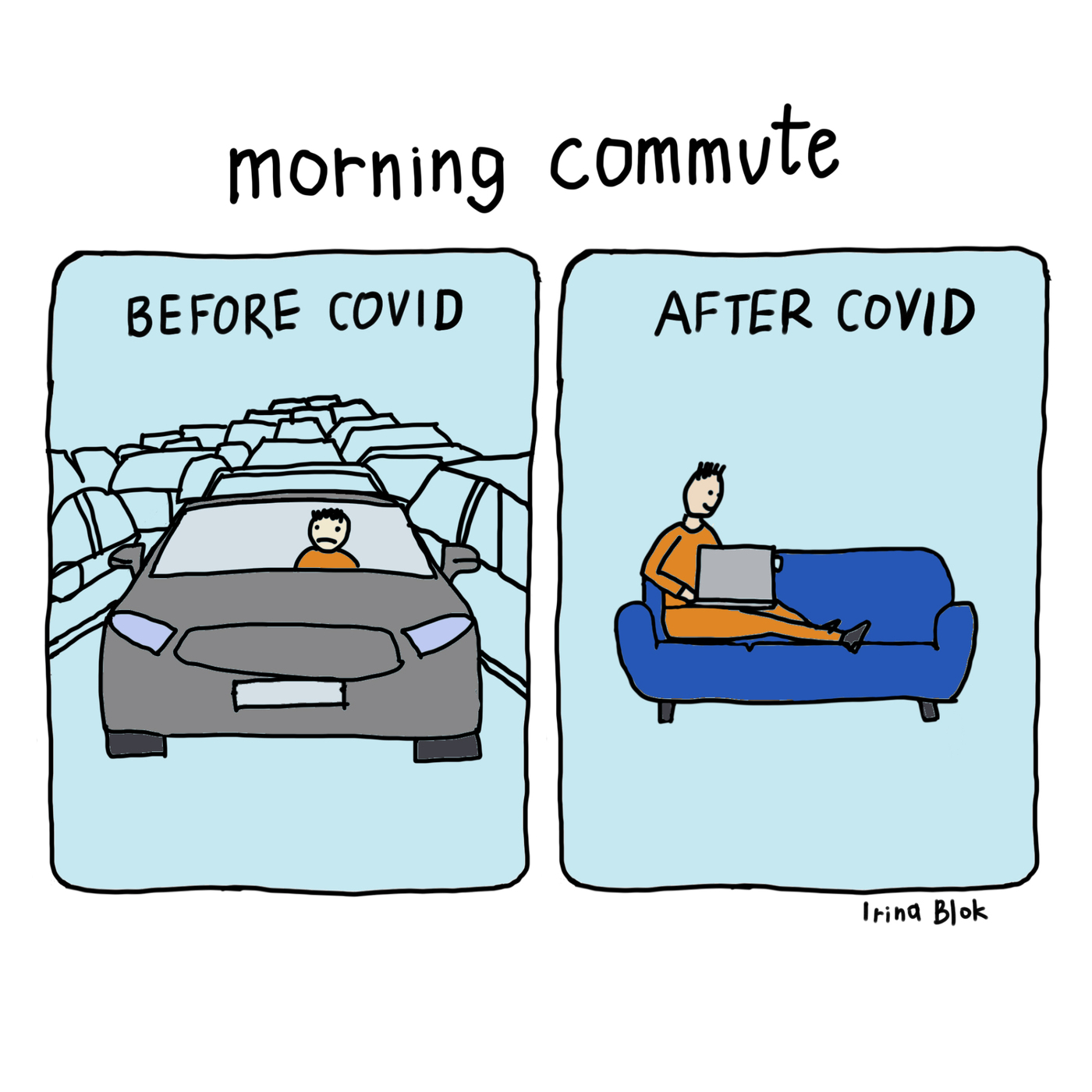 morning commute  BEFORE COVID AFTER CoVID      Irina Blok