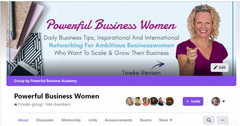 Powerful Business Women  Dal a Business Tips, epirehoras And International  ing For Ar s sswomen  a Want To Scale & Grow Their Business  J TL meee  Powerful Business Women Pvt gop: 44 mei GLU9e® E32 O-  Abon snen  Mentorshp Unt Asouncoments Rooms More v Q
