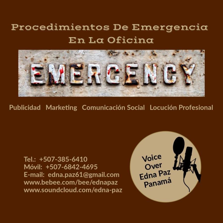 PROCEDIMIENTOS   DE  EMERGENCIA  EN  LA  OFICINA.Procedimientos De Emergencia En La Oficina     Publicidad Marketing Comunicacién Social Locucién Profesional  Tel.: +507-385-6410  Movil: +507-6842-4695  E-mail: edna.paz61@gmail.com www.bebee.com/bee/ednapaz  www.soundcloud.com/edna-paz