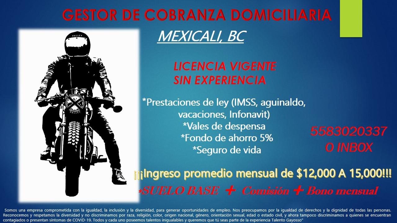 MEXICALI BC     *Prestaciones de ley (IMSS, aguinaldo, vacaciones, Infonavit) *Vales de despensa *Fondo de ahorro 5% *Seguro de vida  jlngreso promedio mensual de $12,000 A 15,000!!!