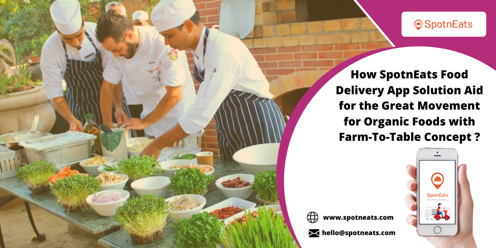 How SpotnEats Food Delivery App Solution Aid for the Great Movement for Organic Foods with  Farm-To-Table Concept ?  @ wwespotmesta.com  hello@spotneats.com