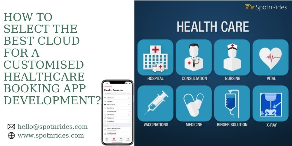HOW TO SELECT THE BEST CLOUD FOR A CUSTOMISED  HEALTHCARE BOOKING APP DEVELOPMENT?  RX hello@spotnrides.com &@ www .spotnrides.com        HEALTH CARE