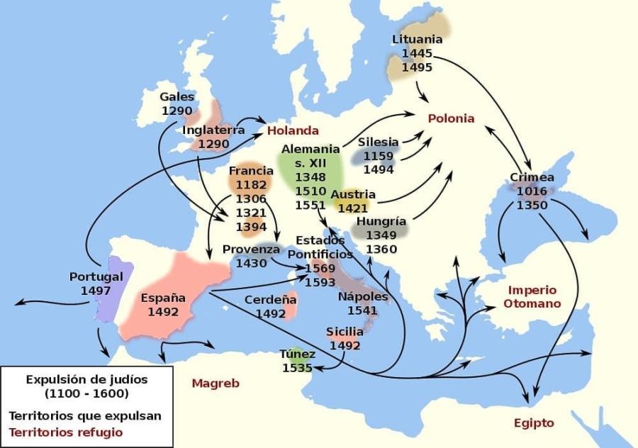 EXPULSIONES Y PERSECUCIONES DE JUDÍOS EN EUROPA ANTES DE 1492Expulsion de judios (1100 - 1600)  Territorios que expulsan Territorios refugio