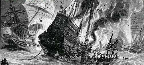 VERACRUZ, SEPTIEMBRE DE 1568, LA ARMADA ESPAÑOLA DERROTA AL PIRATA DRAKE, QUE TRAICIONA A SUS HOMBRES Y HUYE