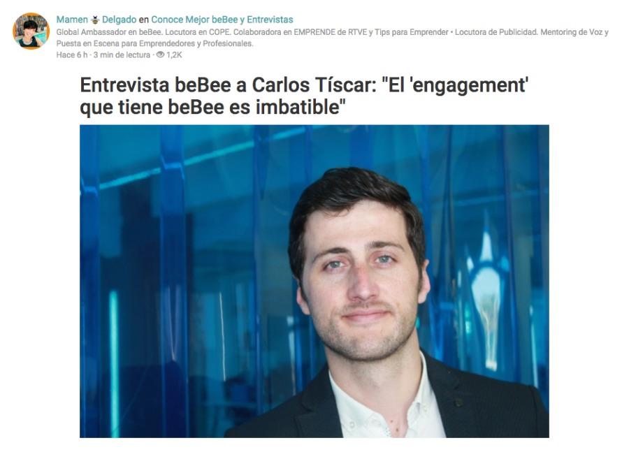 """Búsqueda de empleo (día 5)Entrevista beBee a Carlos Tiscar: """"El 'engagement'<br /> que tiene beBee es imbatible"""""""