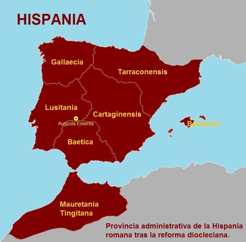 HISPANIA  Gallaecia  Tarraconensis  Lusitania Cartaginensis  0 ~ TERE)  Baetica  Mauretania LG I=TF]        Provincia administrativa de la Hispania romana tras la reforma diocleciana.