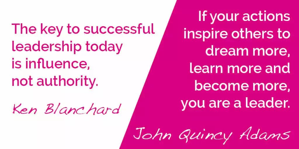 If your actions inspire others to dream more, learn more and become more,  Ken Blanc hard you are a leader.  John Getincy Vr  The key to successful leadership today is influence,  not authority.