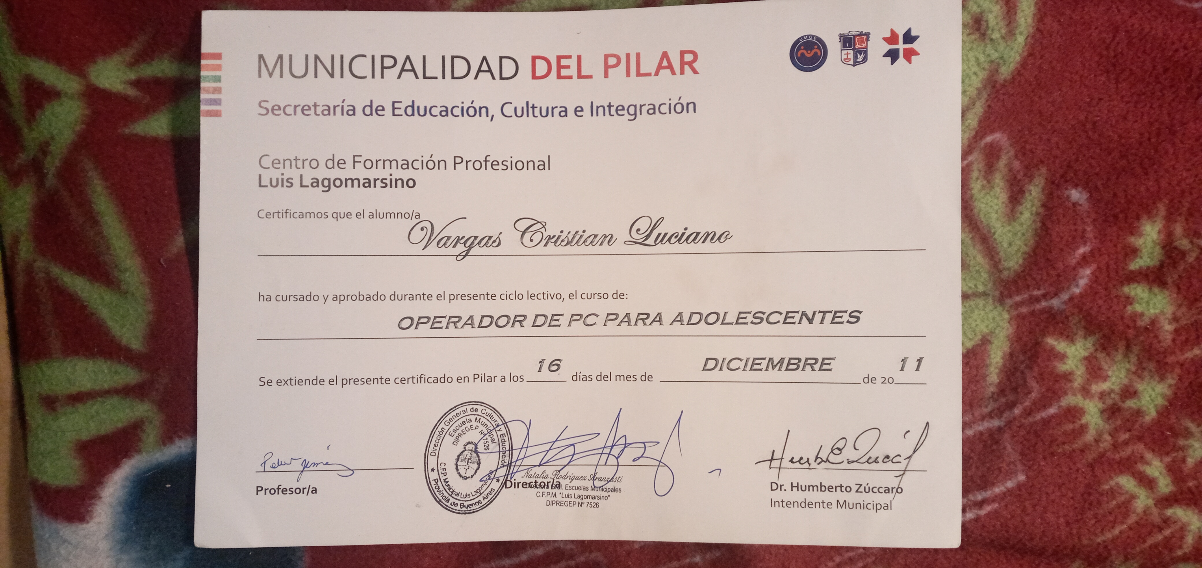 MUNICIPALIDAD DEL PILAR  Secretaria de Educacion, Cultura e Integracion  Centro de Formacion Profesional Luis Lagomarsino  Certificamos que el alumno/a  Darga Cristian Luciane     ha cursado y aprobado durante el presente ciclo lectivo, el curso de:  OPERADOR DE PC PARA ADOLESCENTES     DICIEMBRE 1  Se extiende el presente certificado en Pilar a los __ dias del mes de oon  hl)  Cra i Dr. Humberto Zuccar uis Lagom DIPREGEP N° ons Intendente Municipal  V Profesor/a