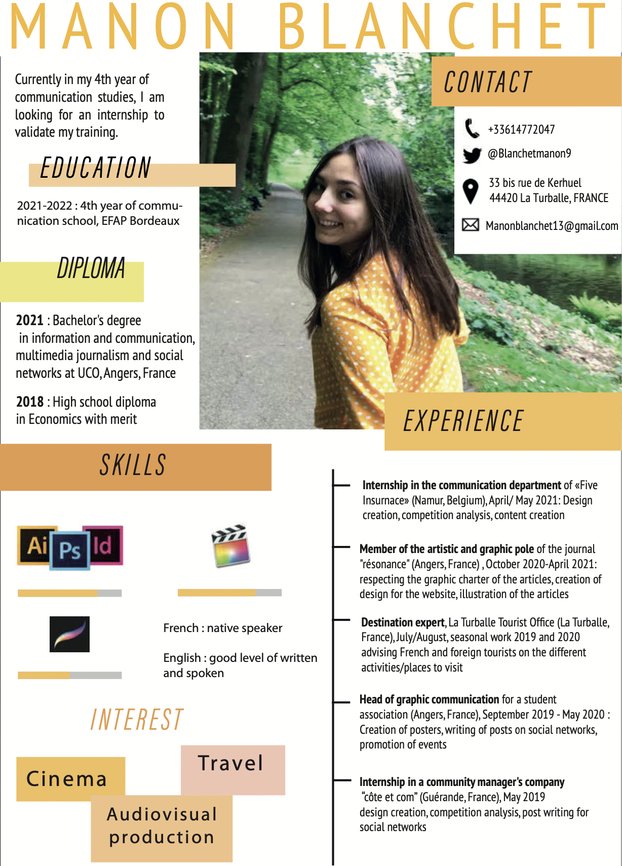 """Currently in my 4th year of communication studies, 